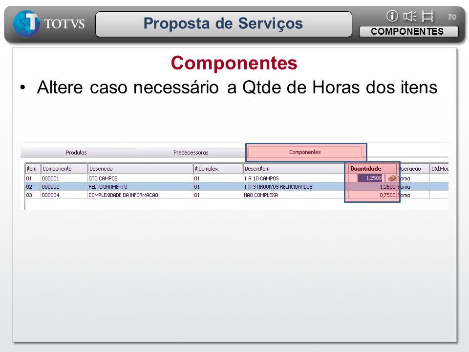 70 Proposta de Serviços Componentes COMPONENTES •Altere caso necessário a Qtde de Horas dos itens