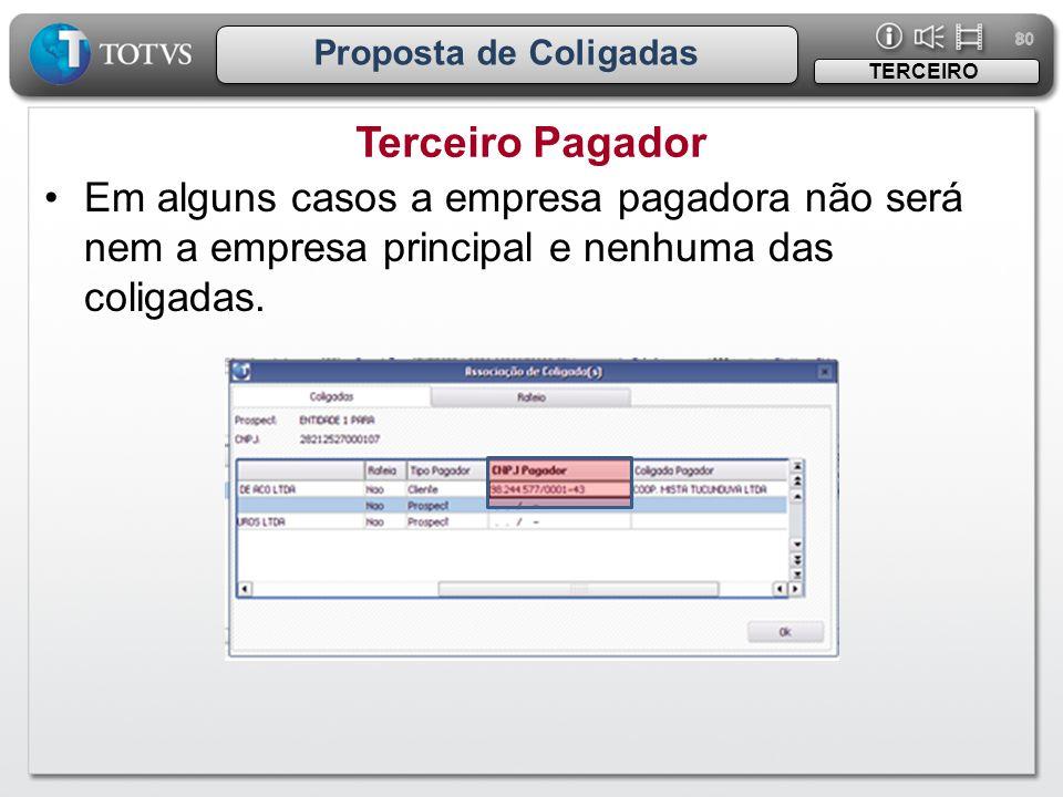 80 Proposta de Coligadas Terceiro Pagador TERCEIRO •Em alguns casos a empresa pagadora não será nem a empresa principal e nenhuma das coligadas.