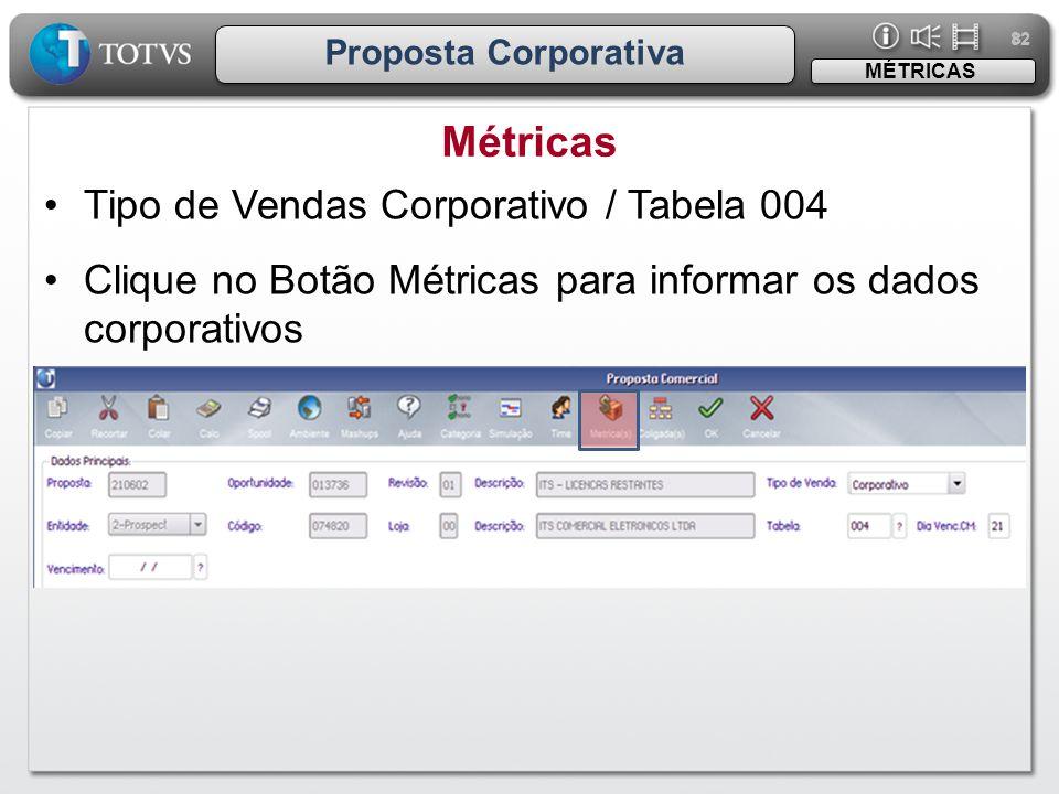 82 Proposta Corporativa •Tipo de Vendas Corporativo / Tabela 004 •Clique no Botão Métricas para informar os dados corporativos Métricas MÉTRICAS