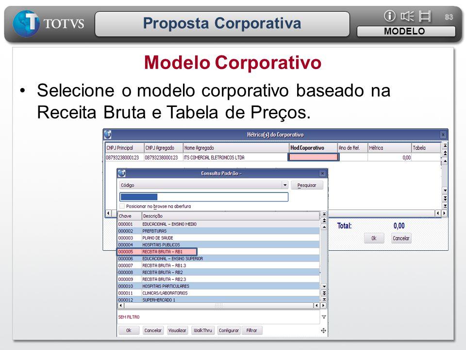 83 Proposta Corporativa •Selecione o modelo corporativo baseado na Receita Bruta e Tabela de Preços. Modelo Corporativo MODELO