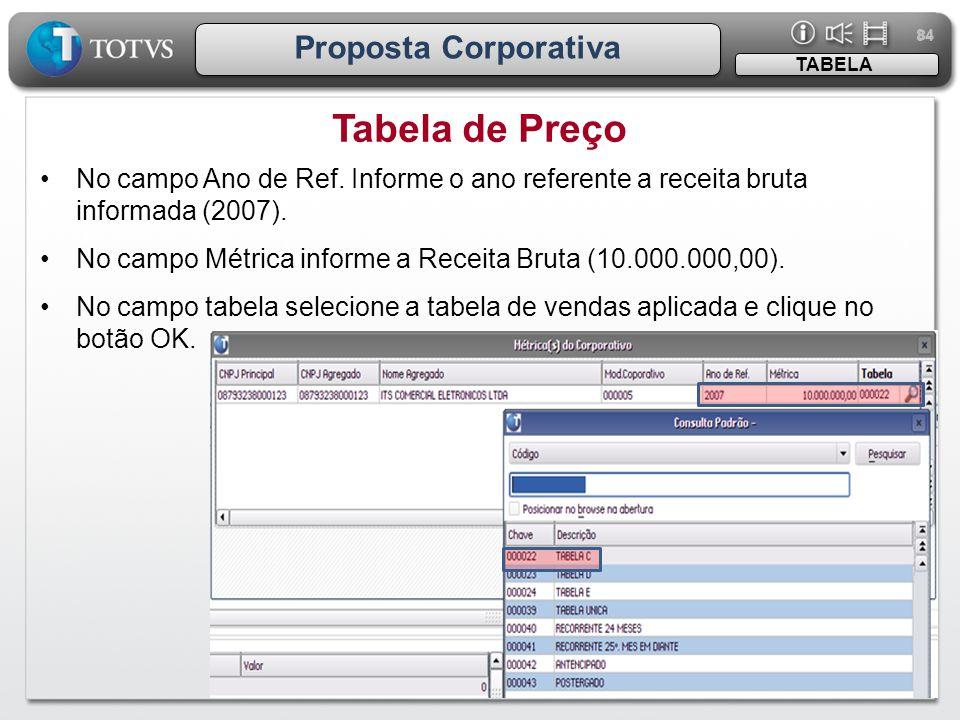 84 Proposta Corporativa •No campo Ano de Ref. Informe o ano referente a receita bruta informada (2007). •No campo Métrica informe a Receita Bruta (10.