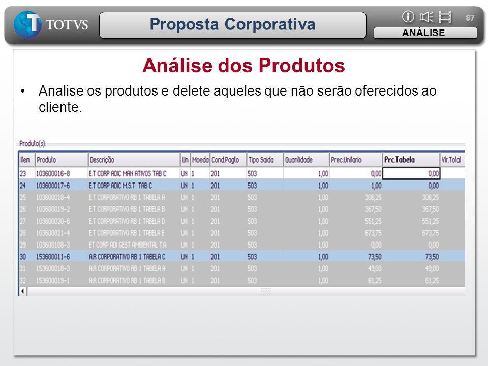 87 Proposta Corporativa •Analise os produtos e delete aqueles que não serão oferecidos ao cliente. Análise dos Produtos ANÁLISE