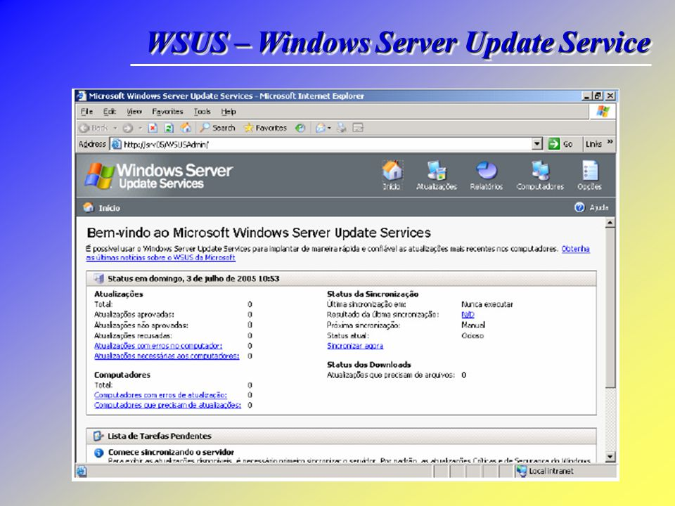 WSUS – Windows Server Update Service Abrindo a Console do WSUS No servidor onde o WSUS está instalado, clique em Start, Programs, Administrative Tools
