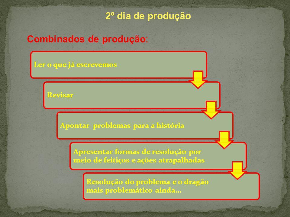 2º dia de produção Combinados de produção: Ler o que já escrevemosRevisarApontar problemas para a história Apresentar formas de resolução por meio de