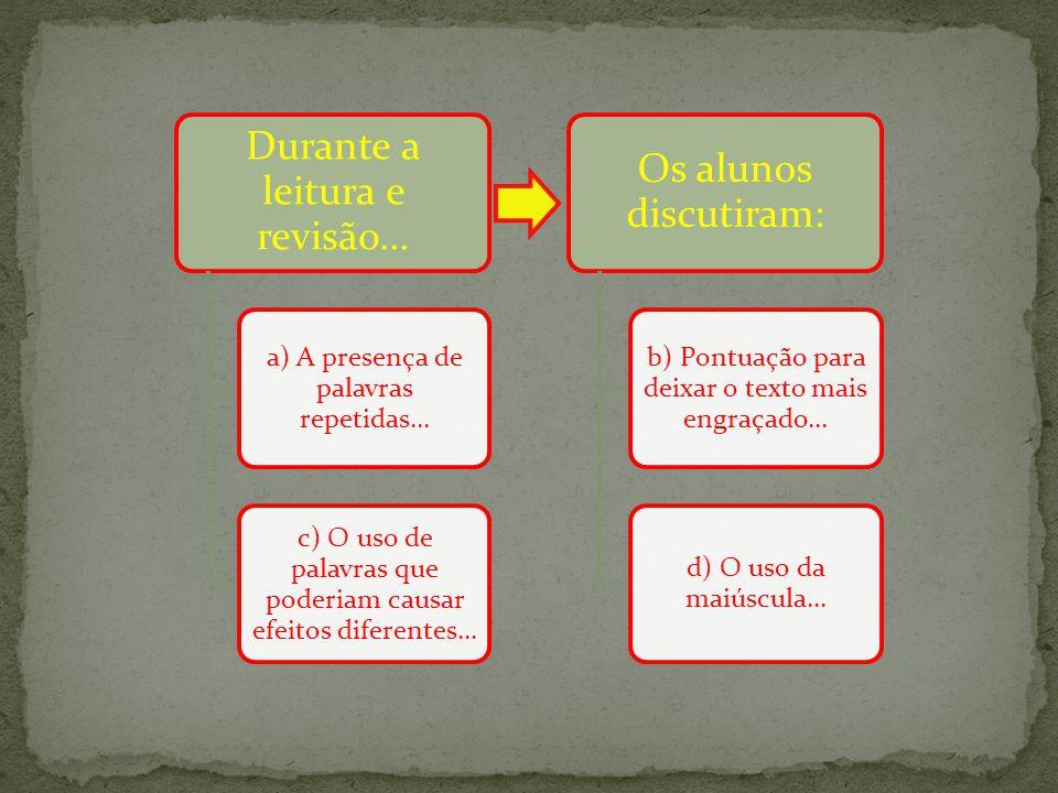 Durante a leitura e revisão... a) A presença de palavras repetidas... c) O uso de palavras que poderiam causar efeitos diferentes... Os alunos discuti