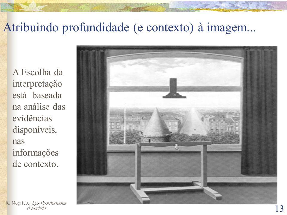 13 Atribuindo profundidade (e contexto) à imagem... R. Magritte, Les Promenades d´Éuclide A Escolha da interpretação está baseada na análise das evidê