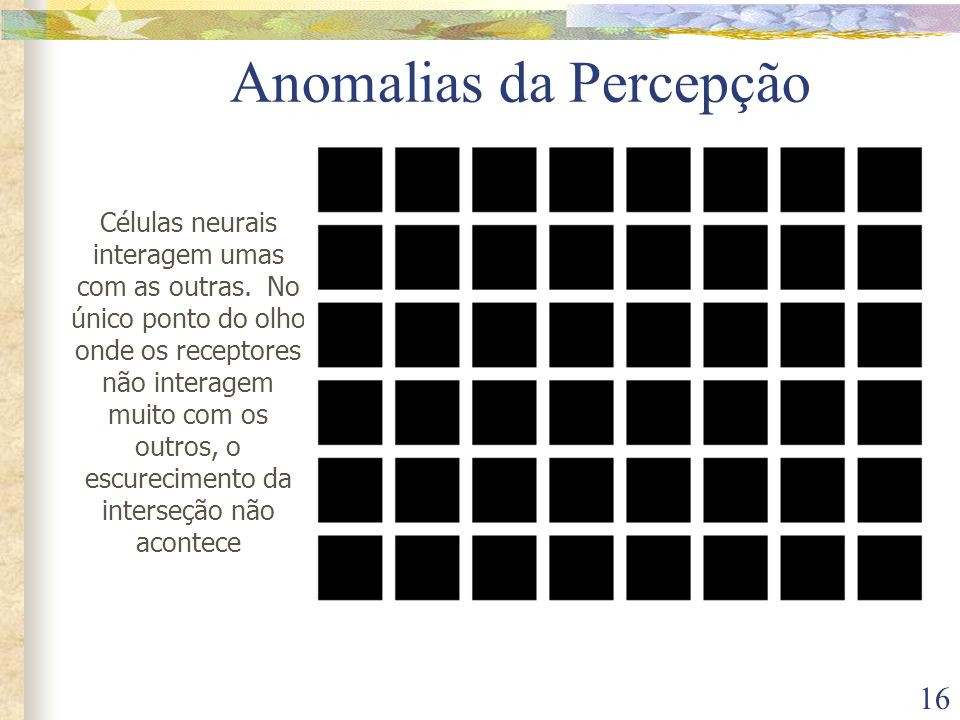 16 Anomalias da Percepção Células neurais interagem umas com as outras. No único ponto do olho onde os receptores não interagem muito com os outros, o