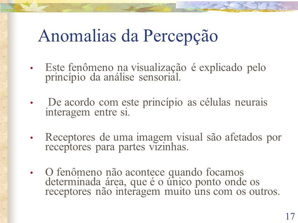 17 Anomalias da Percepção • Este fenômeno na visualização é explicado pelo princípio da análise sensorial. • De acordo com este princípio as células n