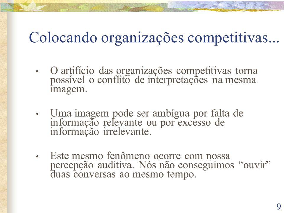 9 • O artifício das organizações competitivas torna possível o conflito de interpretações na mesma imagem. • Uma imagem pode ser ambígua por falta de