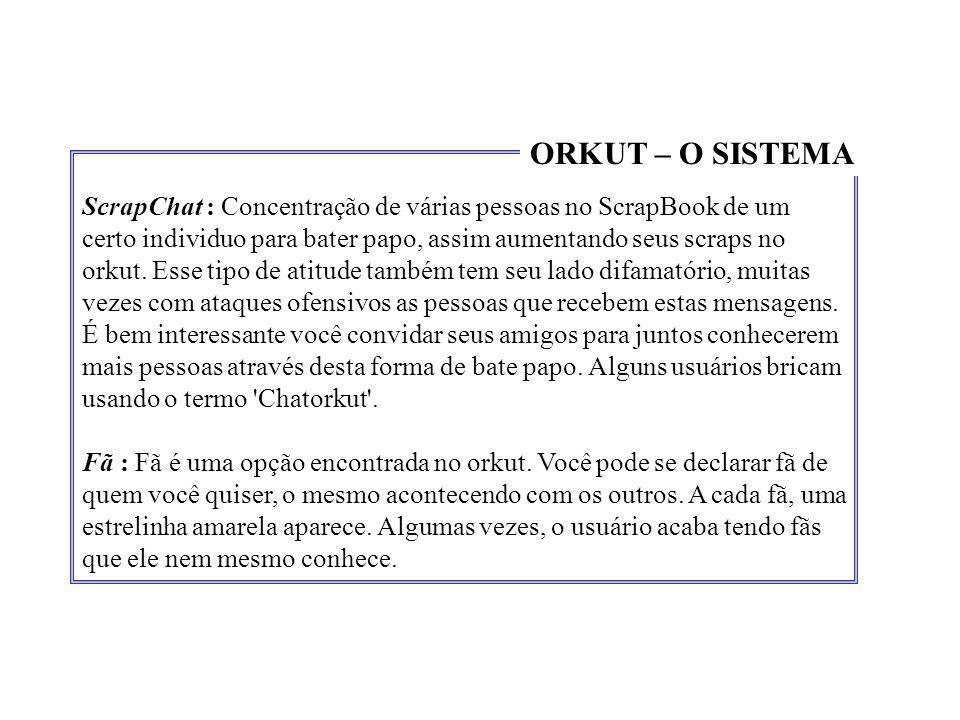 ScrapChat : Concentração de várias pessoas no ScrapBook de um certo individuo para bater papo, assim aumentando seus scraps no orkut. Esse tipo de ati