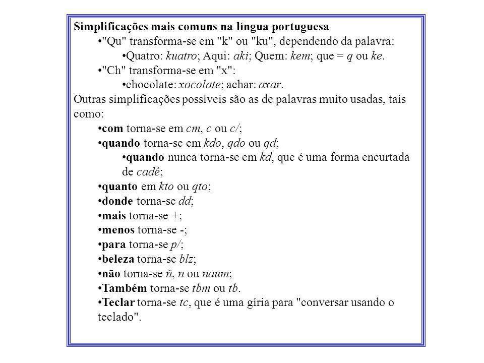 Simplificações mais comuns na língua portuguesa •