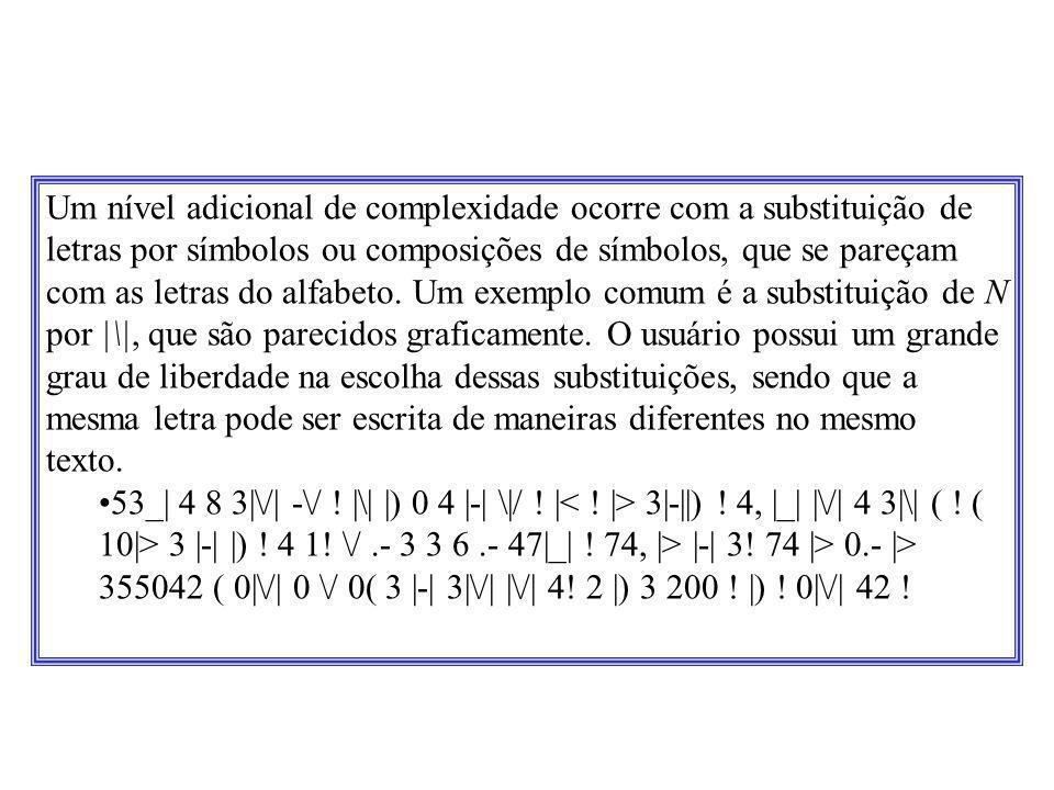 Um nível adicional de complexidade ocorre com a substituição de letras por símbolos ou composições de símbolos, que se pareçam com as letras do alfabe