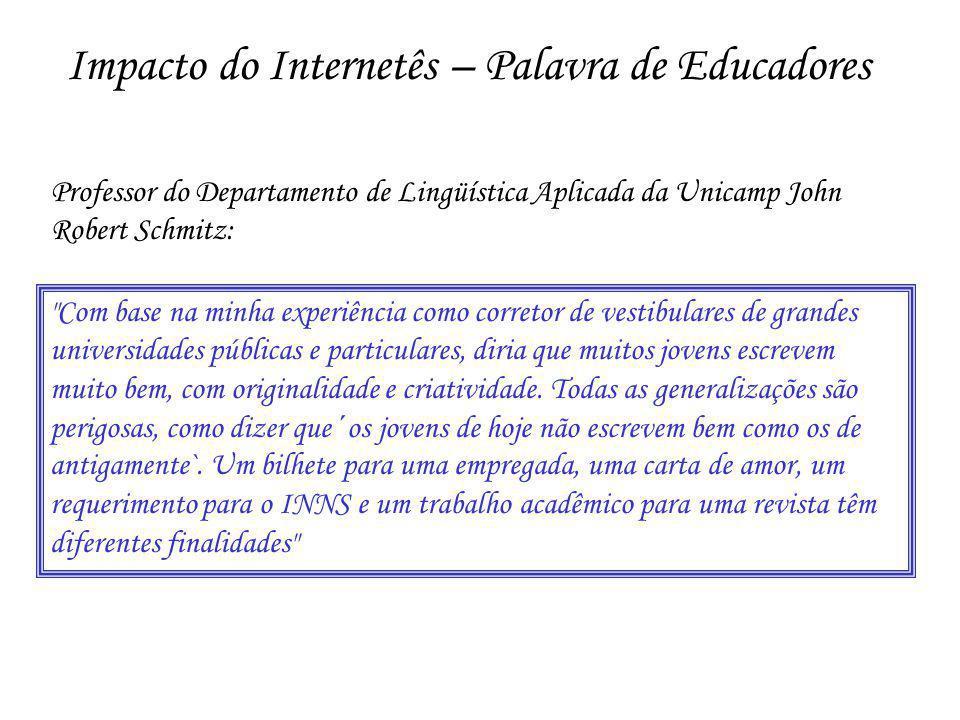 Impacto do Internetês – Palavra de Educadores