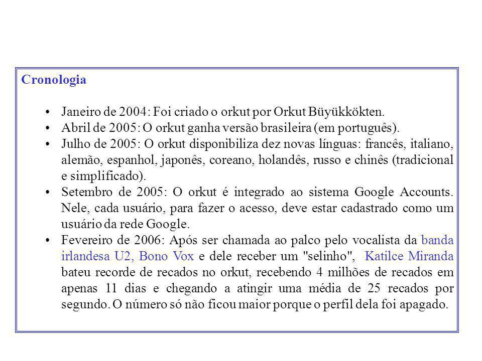 Cronologia •Janeiro de 2004: Foi criado o orkut por Orkut Büyükkökten. •Abril de 2005: O orkut ganha versão brasileira (em português). •Julho de 2005: