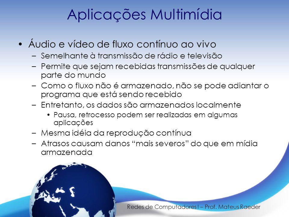 Redes de Computadores I – Prof. Mateus Raeder Aplicações Multimídia •Áudio e vídeo de fluxo contínuo ao vivo –Semelhante à transmissão de rádio e tele
