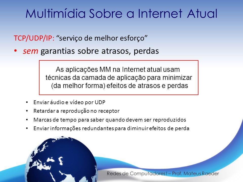 """Redes de Computadores I – Prof. Mateus Raeder Multimídia Sobre a Internet Atual TCP/UDP/IP: """"serviço de melhor esforço"""" • sem garantias sobre atrasos,"""