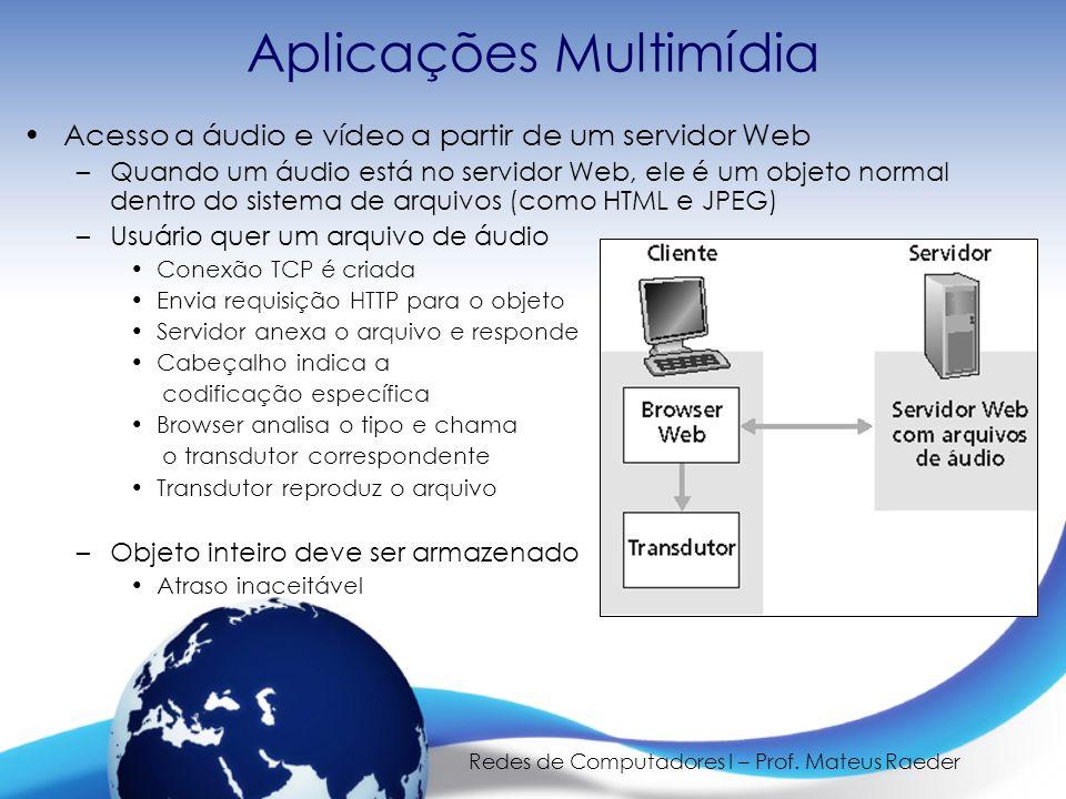 Redes de Computadores I – Prof. Mateus Raeder Aplicações Multimídia •Acesso a áudio e vídeo a partir de um servidor Web –Quando um áudio está no servi