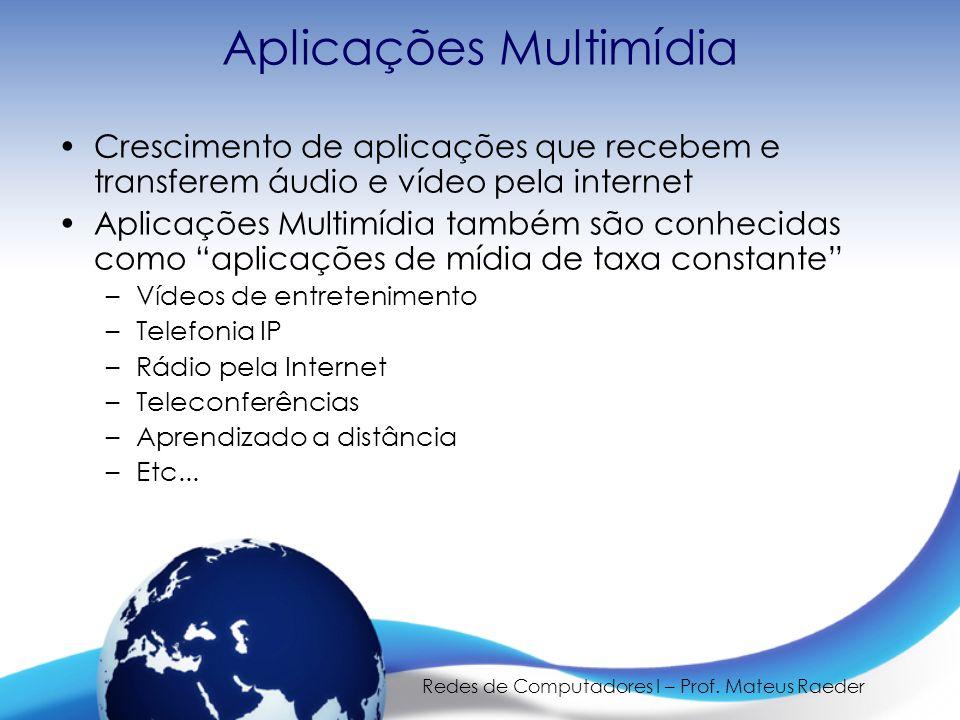 Redes de Computadores I – Prof. Mateus Raeder Aplicações Multimídia •Crescimento de aplicações que recebem e transferem áudio e vídeo pela internet •A