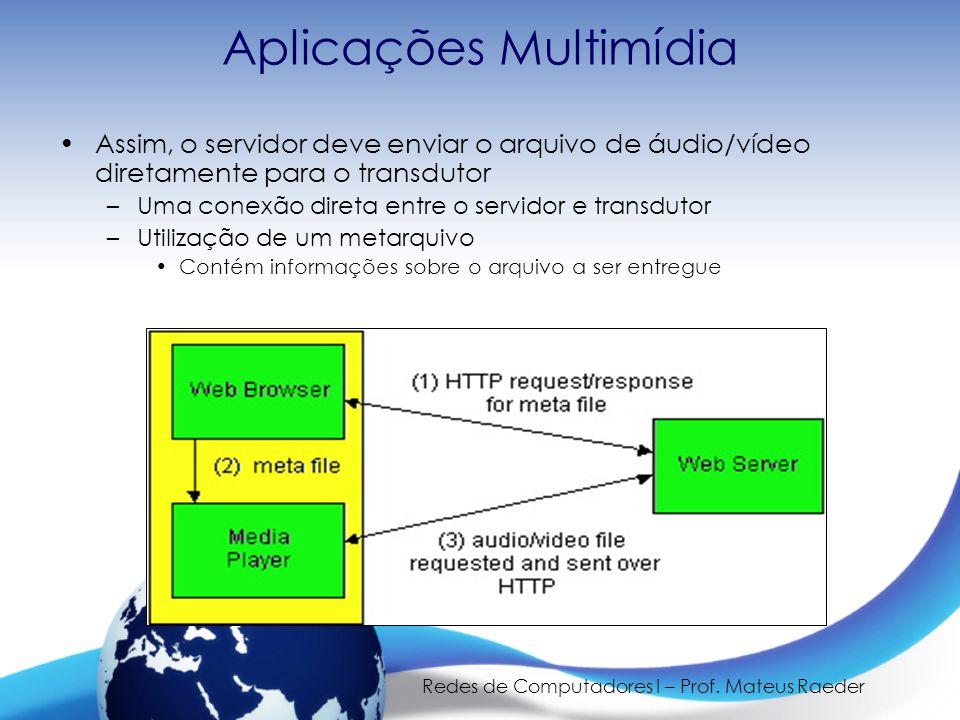 Redes de Computadores I – Prof. Mateus Raeder Aplicações Multimídia •Assim, o servidor deve enviar o arquivo de áudio/vídeo diretamente para o transdu