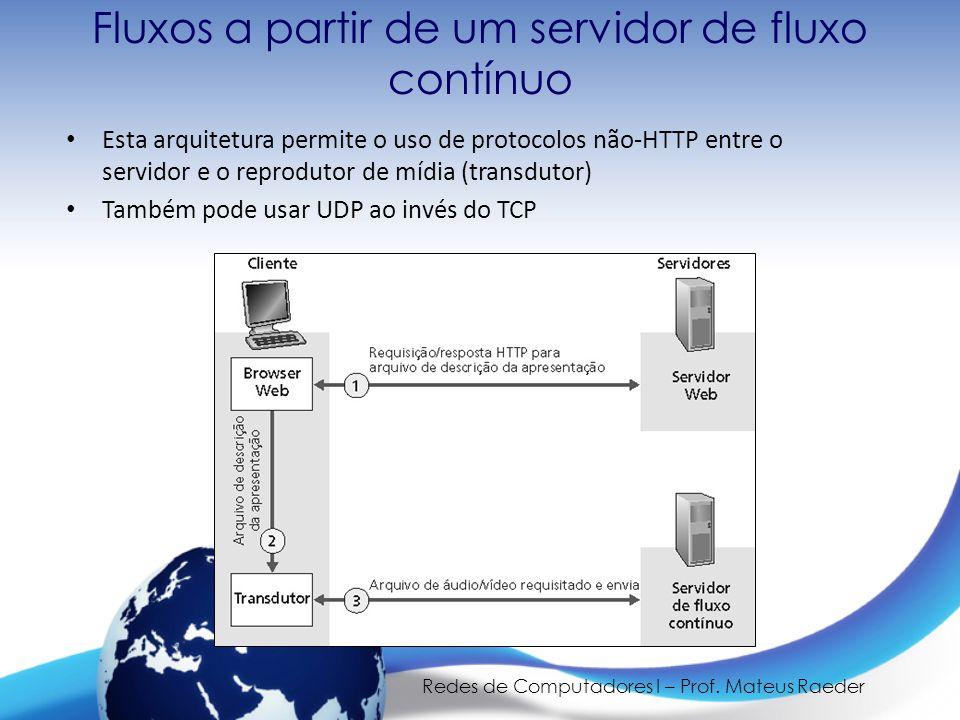 Redes de Computadores I – Prof. Mateus Raeder Fluxos a partir de um servidor de fluxo contínuo • Esta arquitetura permite o uso de protocolos não-HTTP
