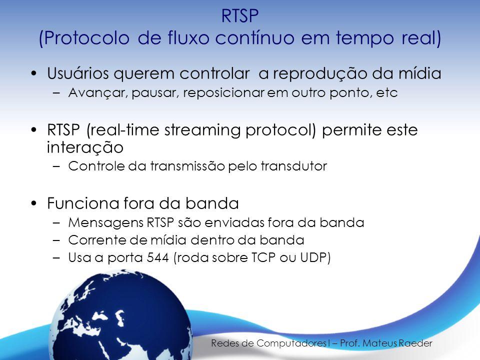 Redes de Computadores I – Prof. Mateus Raeder RTSP (Protocolo de fluxo contínuo em tempo real) •Usuários querem controlar a reprodução da mídia –Avanç