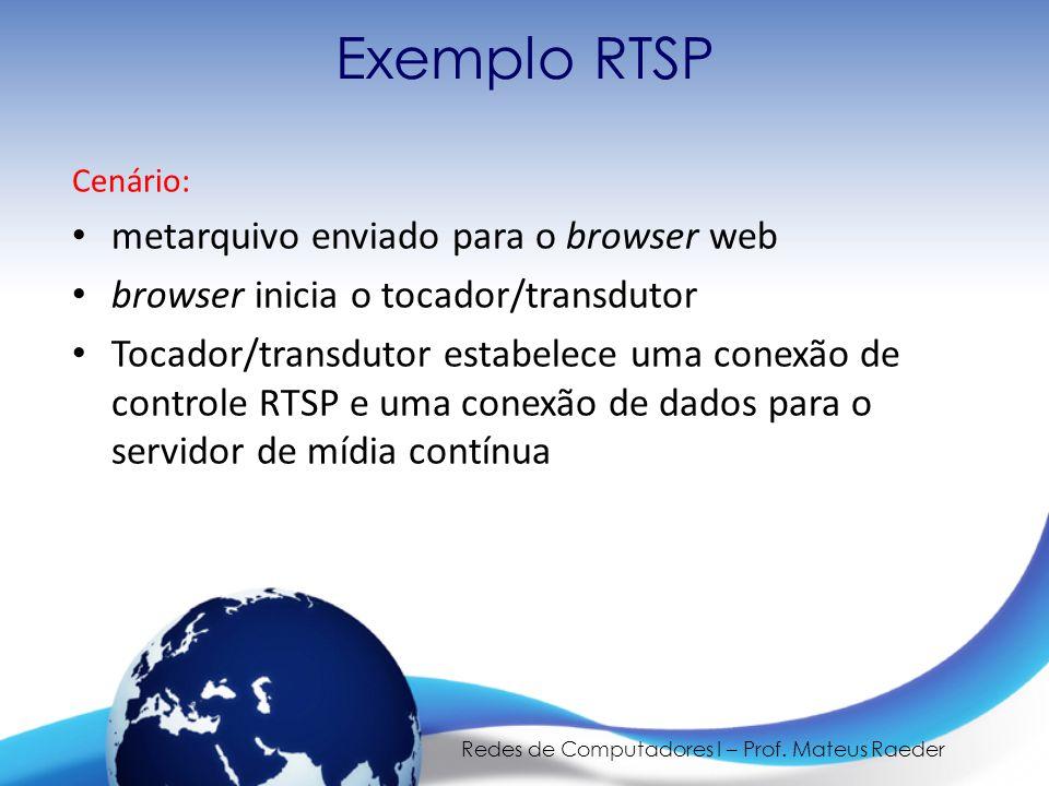 Redes de Computadores I – Prof. Mateus Raeder Exemplo RTSP Cenário: • metarquivo enviado para o browser web • browser inicia o tocador/transdutor • To