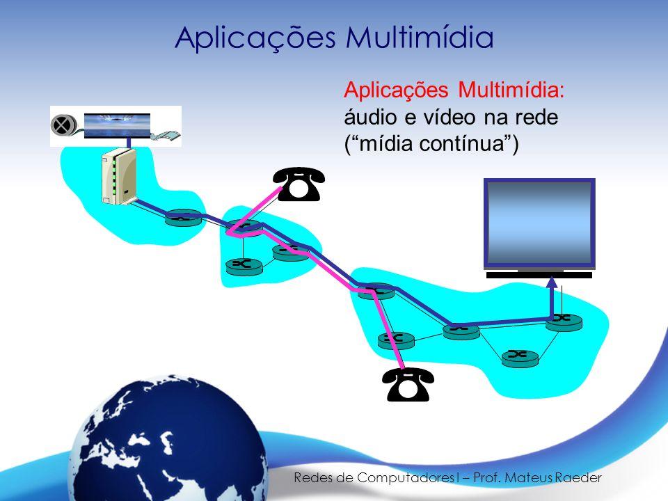 """Redes de Computadores I – Prof. Mateus Raeder Aplicações Multimídia Aplicações Multimídia: áudio e vídeo na rede (""""mídia contínua"""")"""