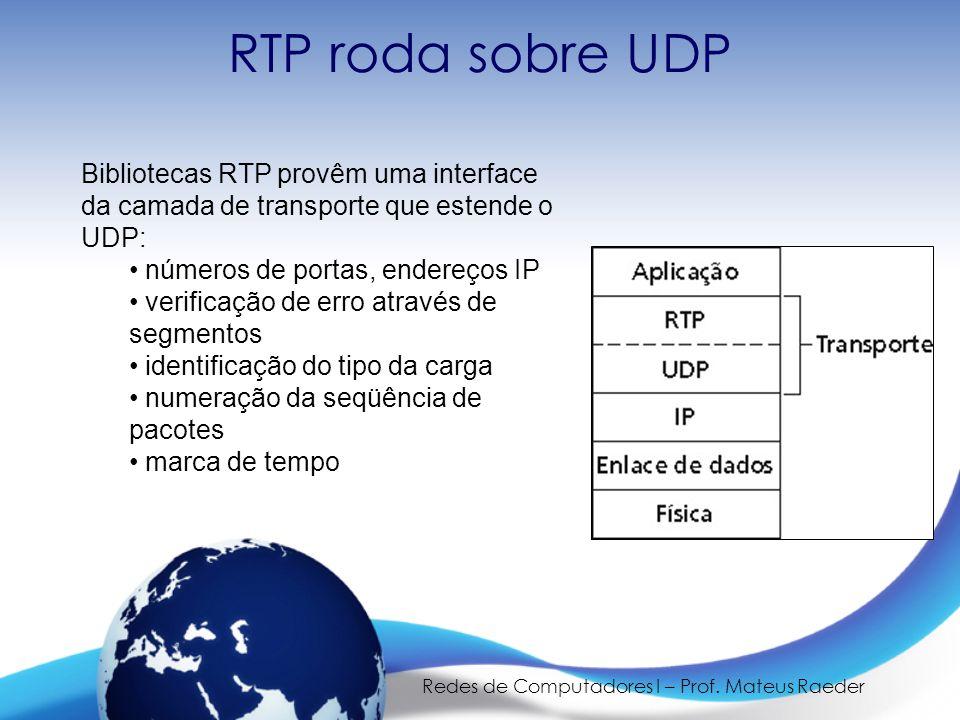Redes de Computadores I – Prof. Mateus Raeder RTP roda sobre UDP Bibliotecas RTP provêm uma interface da camada de transporte que estende o UDP: • núm