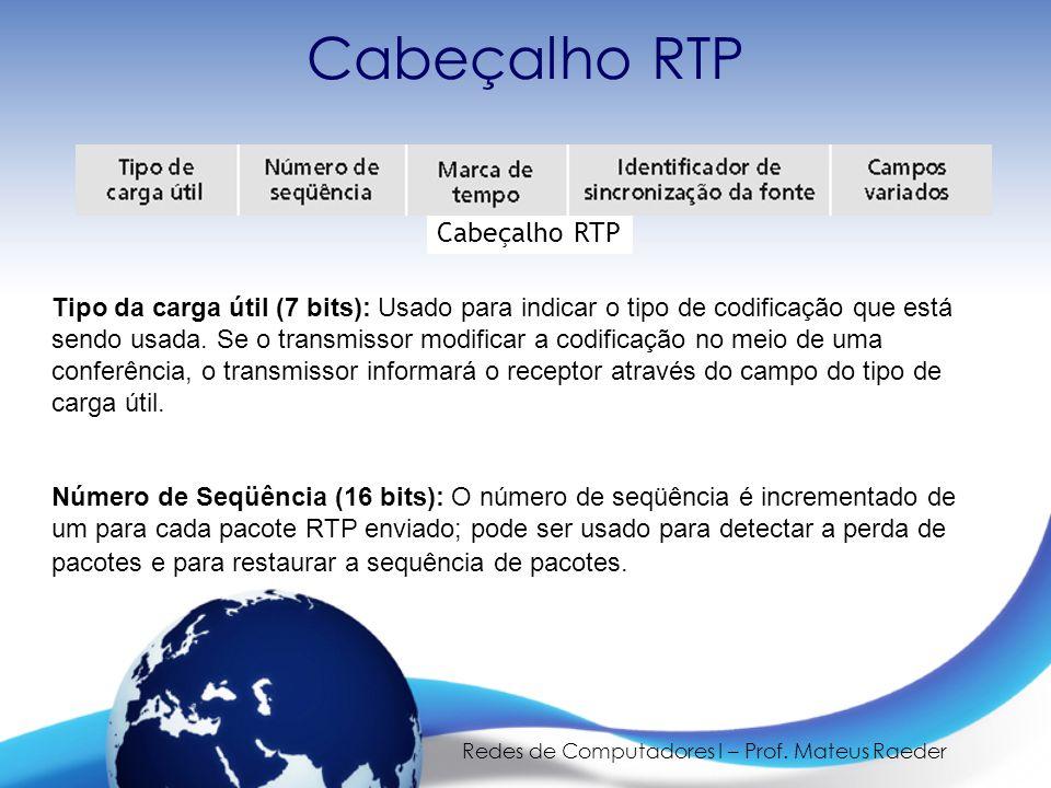 Redes de Computadores I – Prof. Mateus Raeder Cabeçalho RTP Tipo da carga útil (7 bits): Usado para indicar o tipo de codificação que está sendo usada