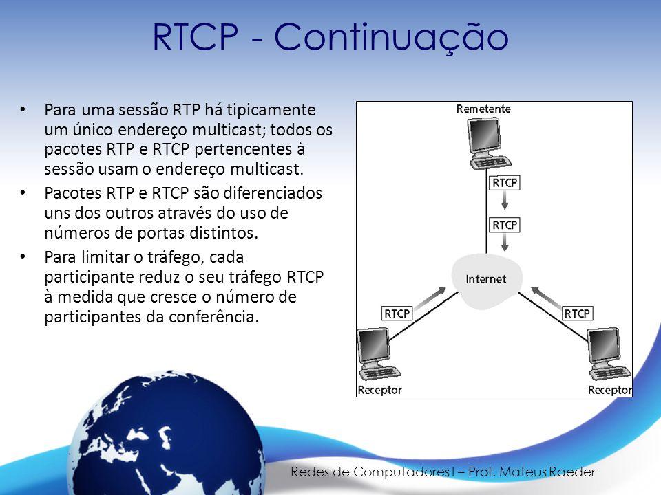 Redes de Computadores I – Prof. Mateus Raeder RTCP - Continuação • Para uma sessão RTP há tipicamente um único endereço multicast; todos os pacotes RT