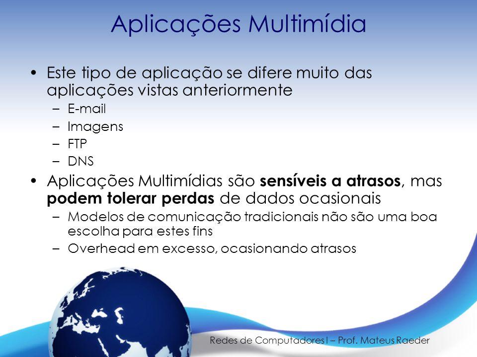 Redes de Computadores I – Prof. Mateus Raeder Aplicações Multimídia •Este tipo de aplicação se difere muito das aplicações vistas anteriormente –E-mai