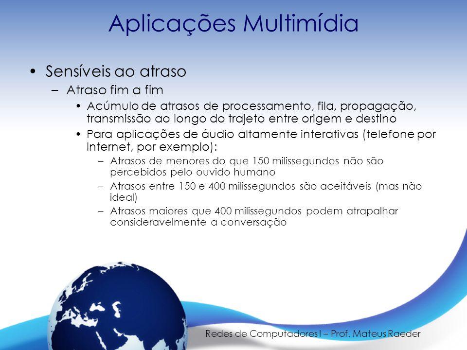Redes de Computadores I – Prof. Mateus Raeder Aplicações Multimídia •Sensíveis ao atraso –Atraso fim a fim •Acúmulo de atrasos de processamento, fila,