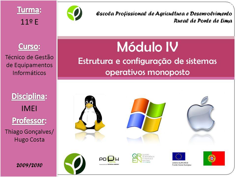 Módulo IV Estrutura e configuração de sistemas operativos monoposto 2009/2010 Escola Profissional de Agricultura e Desenvolvimento Rural de Ponte de Lima