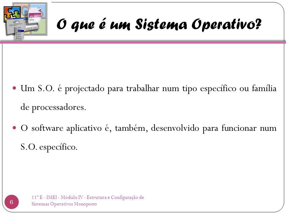 O que é um Sistema Operativo. Um S.O.