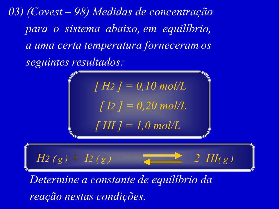 03) (Covest – 98) Medidas de concentração para o sistema abaixo, em equilíbrio, a uma certa temperatura forneceram os seguintes resultados: Determine
