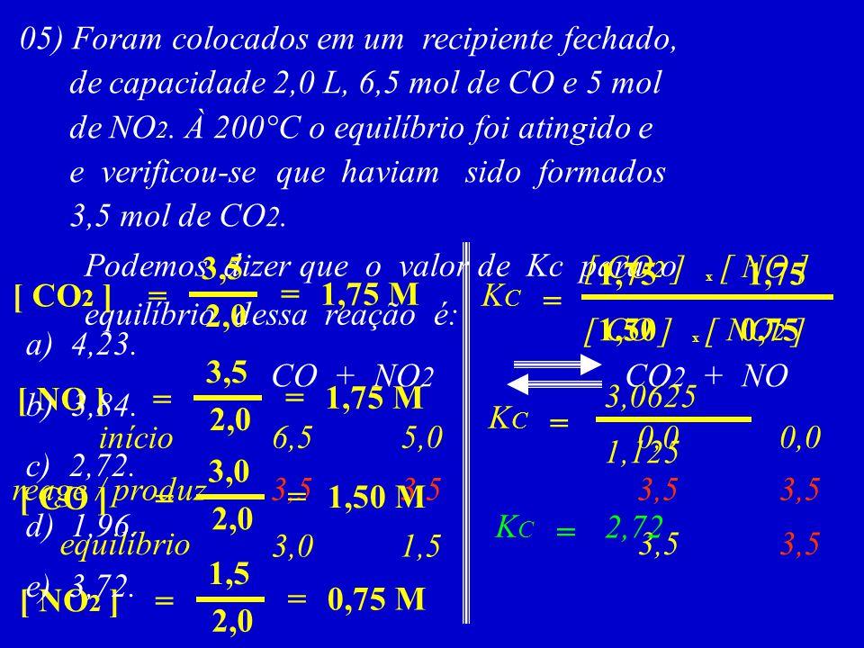 05) Foram colocados em um recipiente fechado, de capacidade 2,0 L, 6,5 mol de CO e 5 mol de NO 2. À 200°C o equilíbrio foi atingido e e verificou-se q