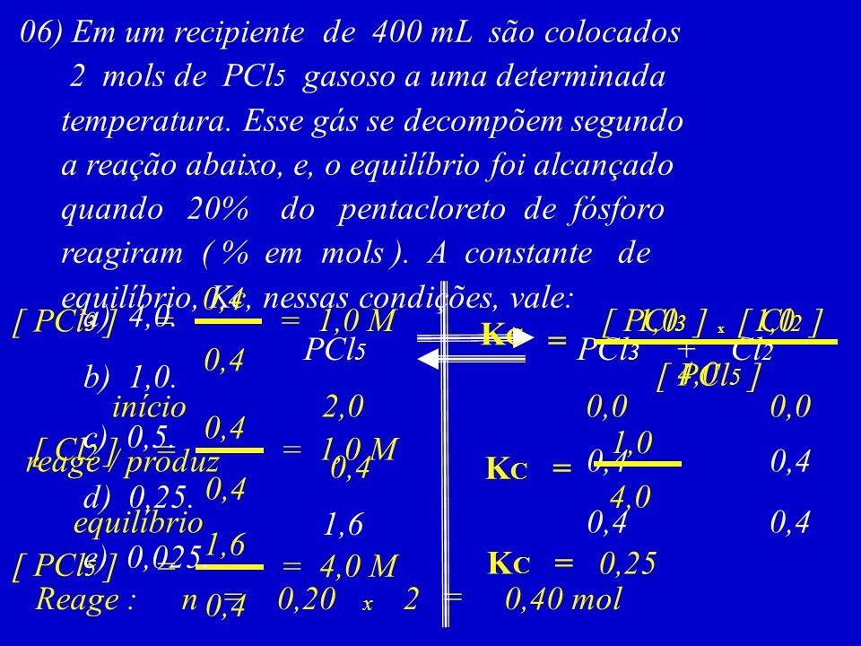 06) Em um recipiente de 400 mL são colocados 2 mols de PCl 5 gasoso a uma determinada temperatura. Esse gás se decompõem segundo a reação abaixo, e, o