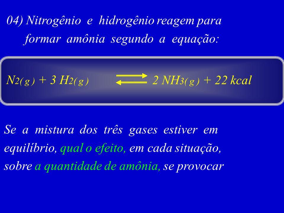 04) Nitrogênio e hidrogênio reagem para formar amônia segundo a equação: Se a mistura dos três gases estiver em equilíbrio, qual o efeito, em cada sit