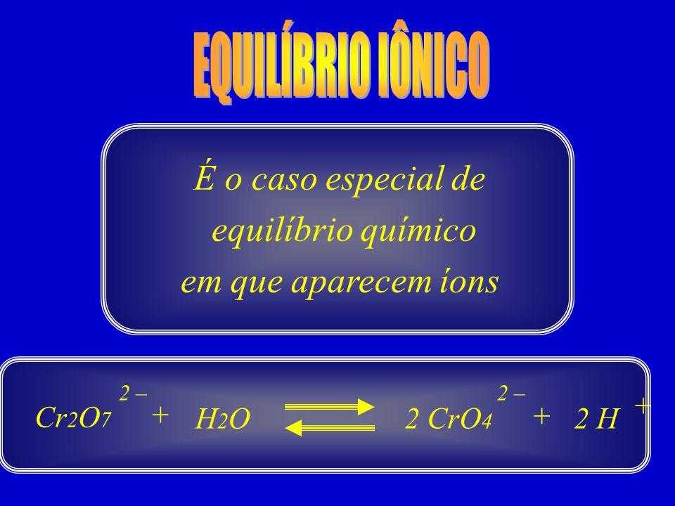 É o caso especial de equilíbrio químico em que aparecem íons Cr 2 O 7 2 H 2 – + H2OH2O 2 CrO 4 2 – + +