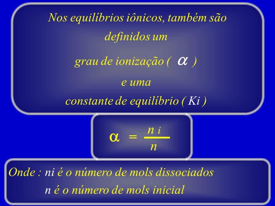 Nos equilíbrios iônicos, também são definidos um grau de ionização (  ) e uma constante de equilíbrio ( Ki ) Onde : ni é o número de mols dissociados