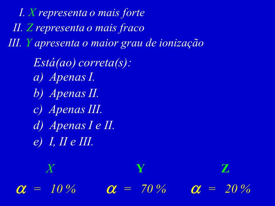 Está(ao) correta(s): a) Apenas I. b) Apenas II. c) Apenas III. d) Apenas I e II. e) I, II e III. I. X representa o mais forte II. Z representa o mais