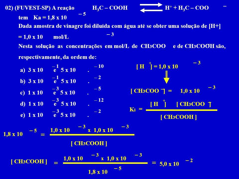 02) (FUVEST-SP) A reação H 3 C – COOH H + + H 3 C – COO temKa = 1,8 x 10 Dada amostra de vinagre foi diluída com água até se obter uma solução de [H+]