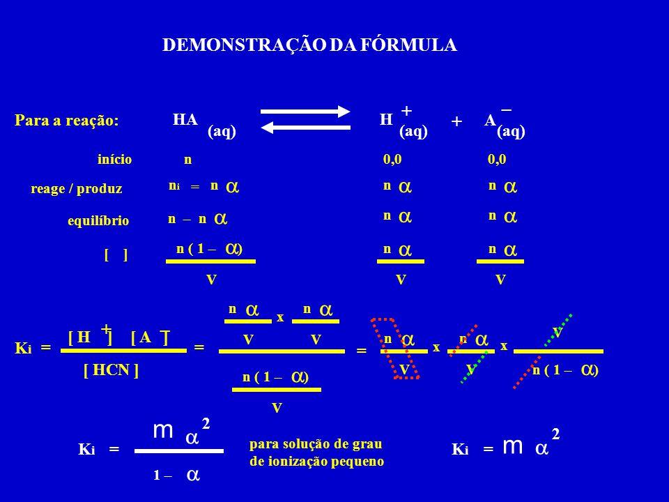 Para a reação: HA (aq) H + + A – = KiKi [ H ][ A ] [ HCN ] +– início reage / produz equilíbrio [ ] 0,0  nini n = n  n  n n–  n  n  n  V  n  n