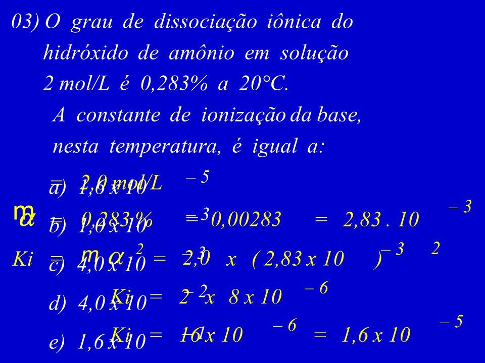 03) O grau de dissociação iônica do hidróxido de amônio em solução 2 mol/L é 0,283% a 20°C. A constante de ionização da base, nesta temperatura, é igu