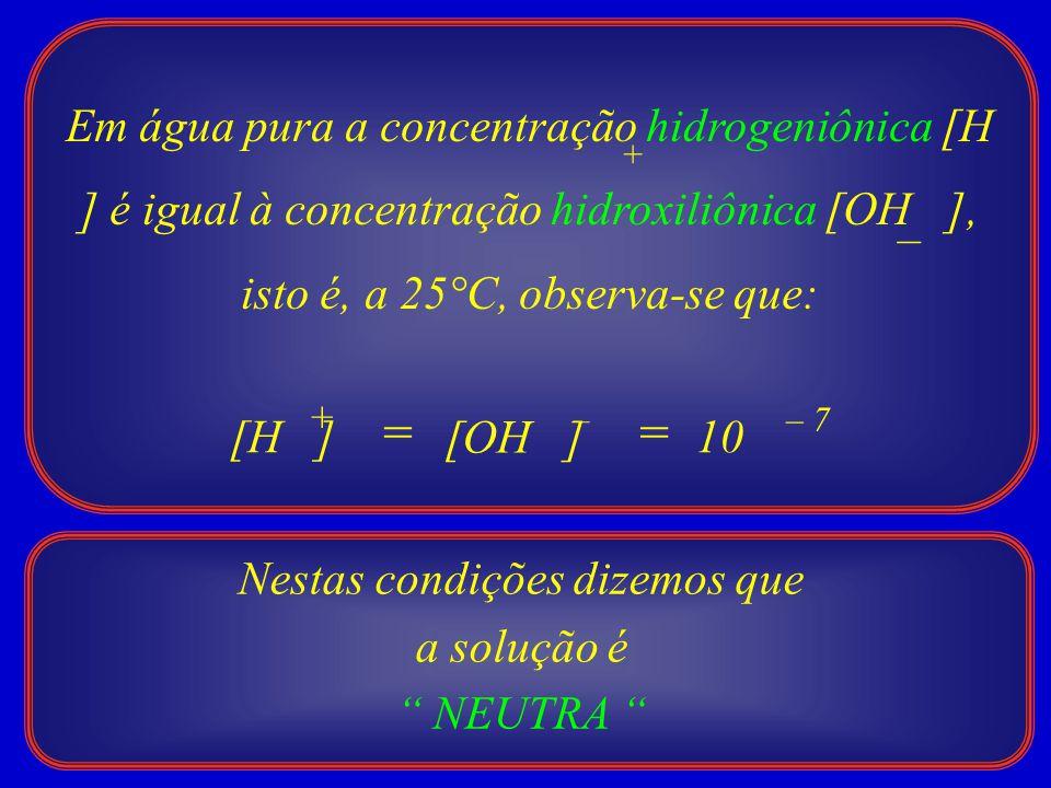Em água pura a concentração hidrogeniônica [H ] é igual à concentração hidroxiliônica [OH ], isto é, a 25°C, observa-se que: + – = – 7 [H ] [OH ] + –