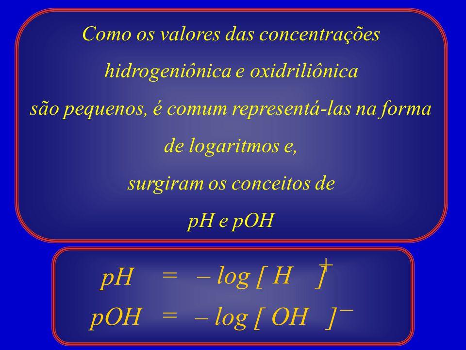 Como os valores das concentrações hidrogeniônica e oxidriliônica são pequenos, é comum representá-las na forma de logaritmos e, surgiram os conceitos