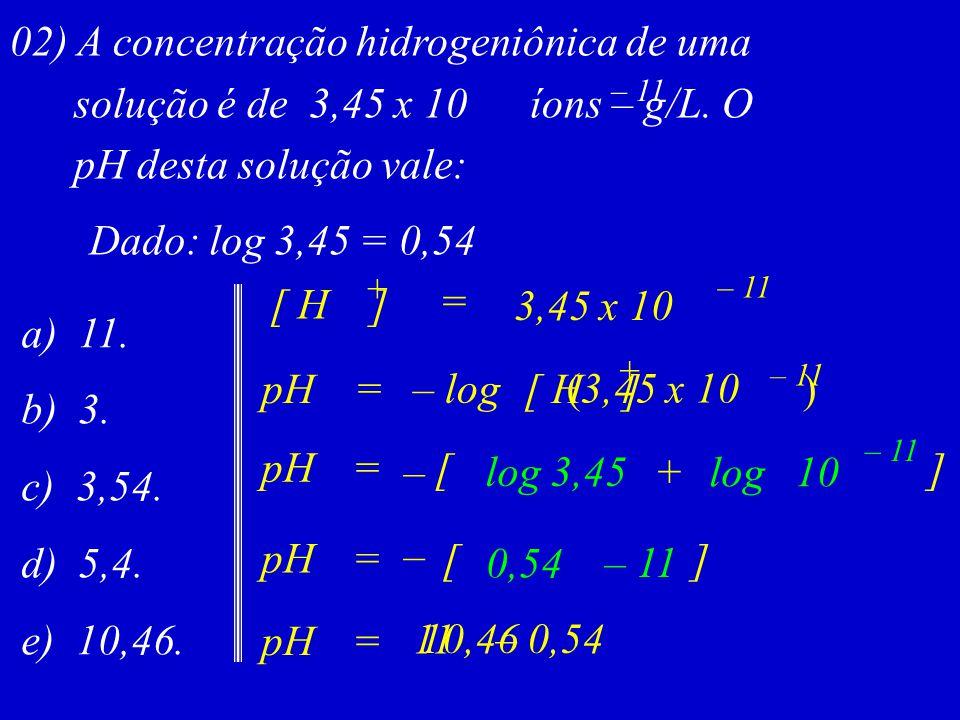 02) A concentração hidrogeniônica de uma solução é de 3,45 x 10 íons – g/L. O pH desta solução vale: – 11 Dado: log 3,45 = 0,54 a) 11. b) 3. c) 3,54.
