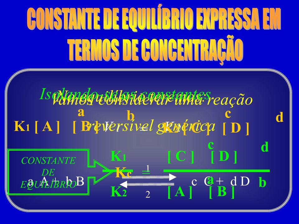 Vamos considerar uma reação reversível genérica a A + b Bc C + d D 1 2 No equilíbrio teremos: V 1 = V 2 a b K 1 [ A ] [ B ] c d K 2 [ C ] [ D ] Isolan