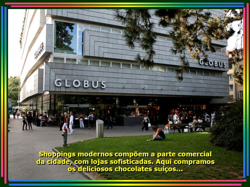 Esta é a Avenida Bahnhofstrasse, a mais importante e mais cara avenida do mundo, onde estão os maiores bancos e lojas de grifes famosas, como Chanel e