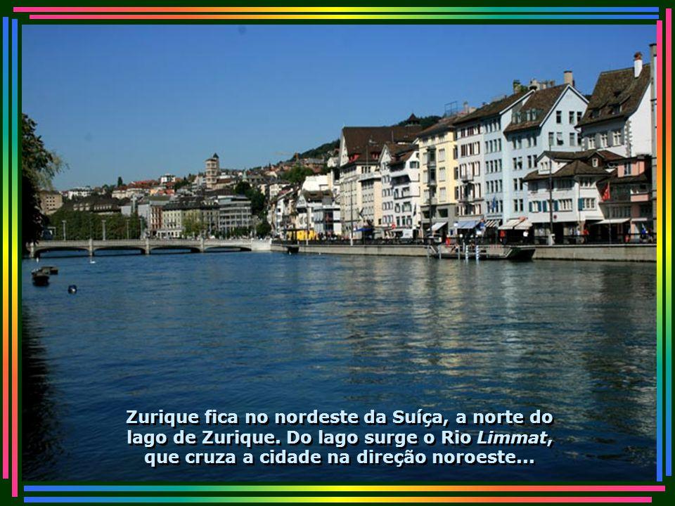 Zurique fica no nordeste da Suíça, a norte do lago de Zurique.